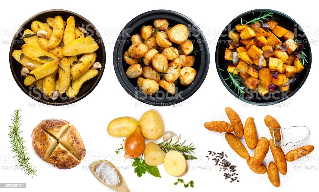 Coleção de pratos de batata isolada vista superior - foto de acervo