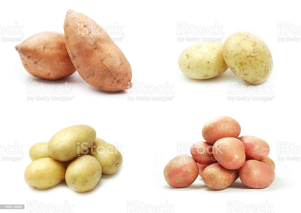 Collection of potatoes on white background stock photo