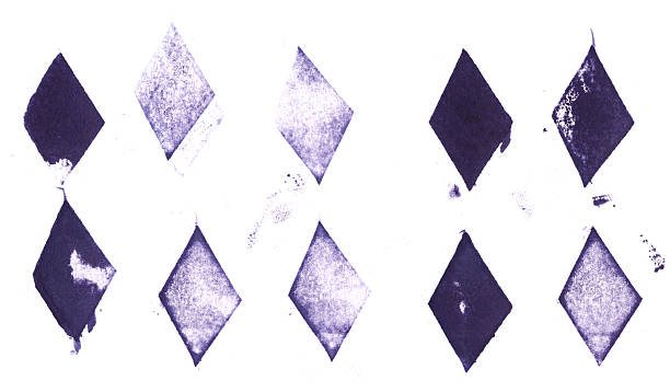 collection of printed letterpress diamond shapes - rubber stamp texture stock photos and pictures