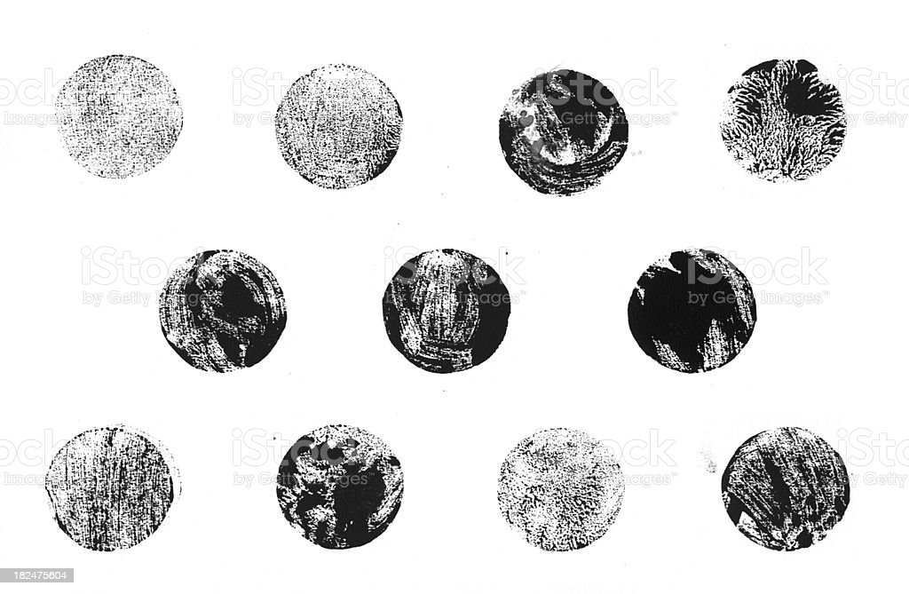 Collection of printed letterpress round shapes stock photo