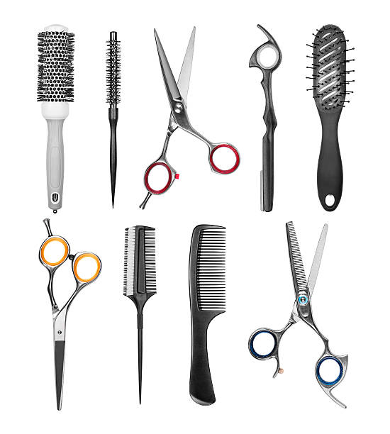 collection of professional hair brushes and scissors isolated on - se peigner photos et images de collection