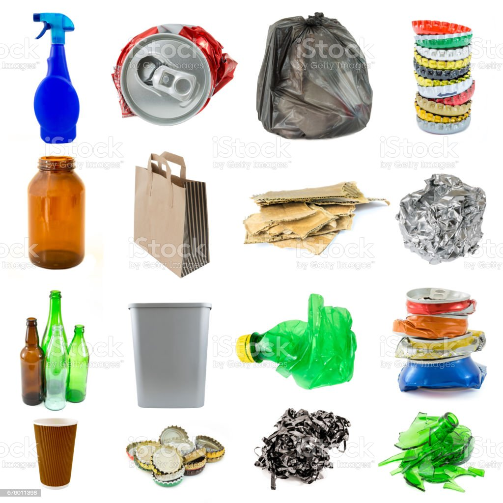 Collection of recyclable garbage objects isolated - foto de stock