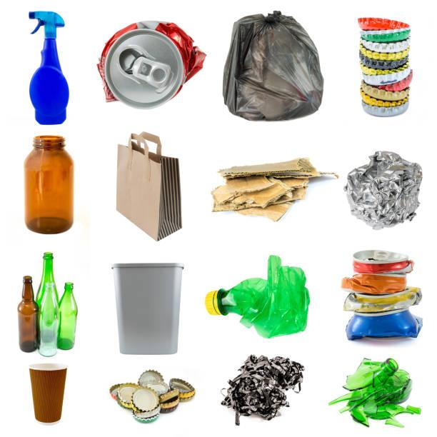 Colección de objetos de basura reciclable aislado - foto de stock