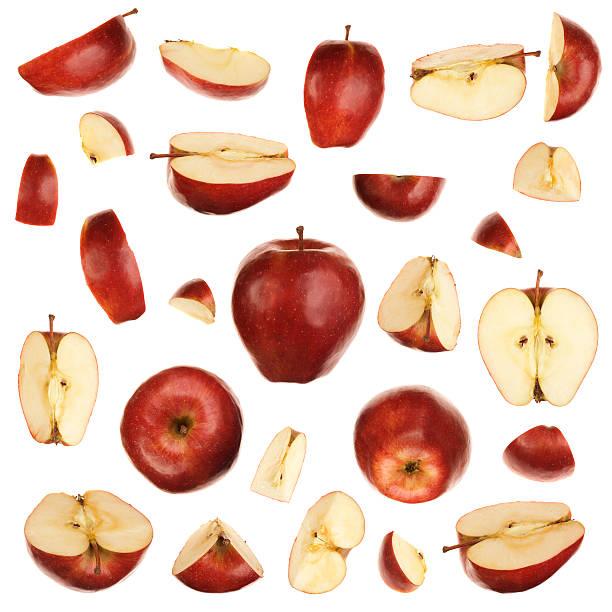 レッドアップルのスライスのコレクション ストックフォト