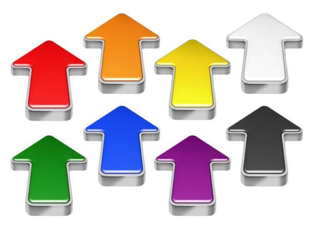 collection of red, green, blue, yellow, black, white 3d arrows - mouse pointer stock photos and pictures