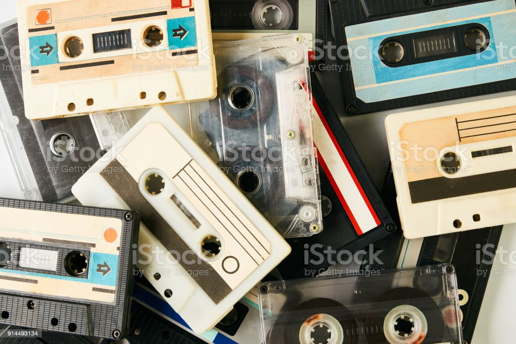 Collection of retro cassette tapes stock photo