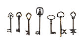 Set of vintage keys. Objects isolated on white background
