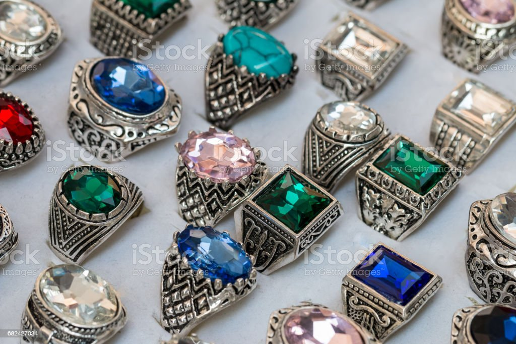 Collection of rings with colorful gems royalty-free stock photo