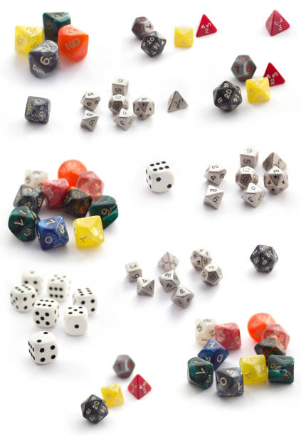 Collection  of RPG dices isolated on white stock photo