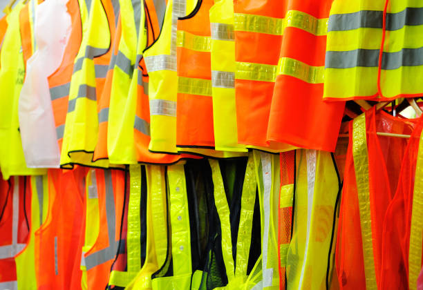 Collection of security reflective vests. stock photo
