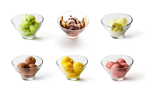 Collection of six Ice creams on white background