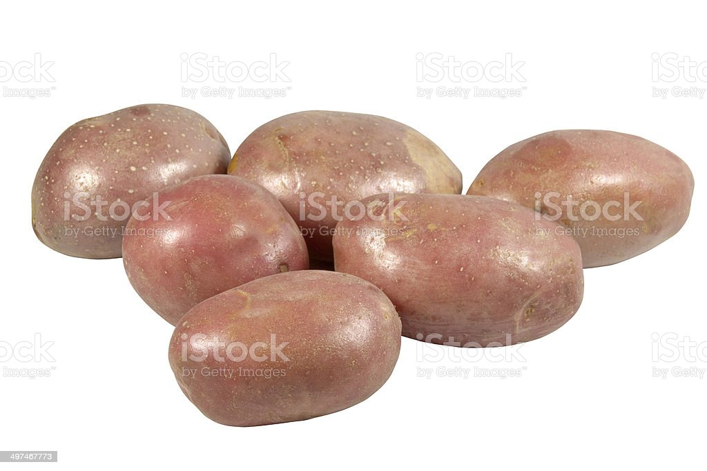 Collection of Six Unpeeled Red-Skinned Potatoes stock photo