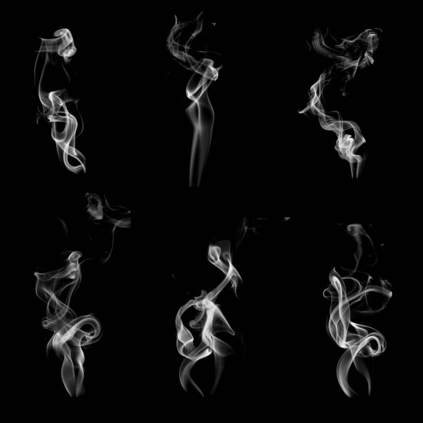 collection of smoke patterns isolated on black - duman stok fotoğraflar ve resimler