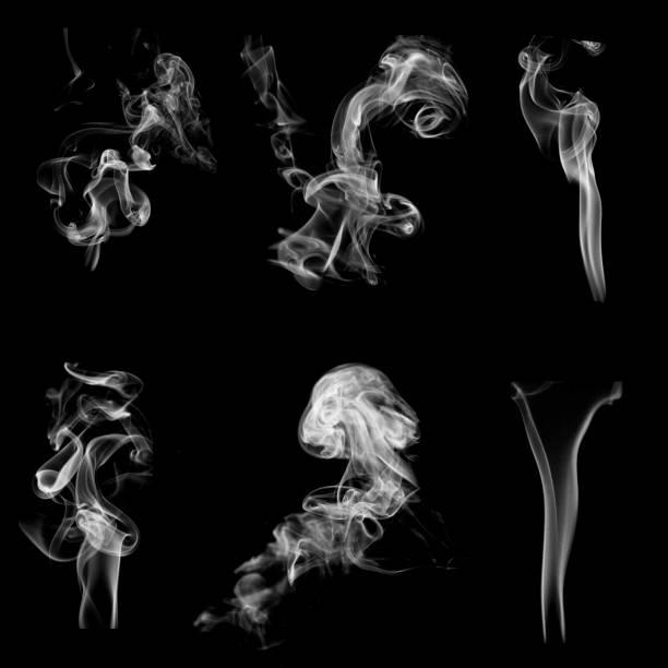 collection de motifs de fumée isolé sur noir - nuage 6 photos et images de collection
