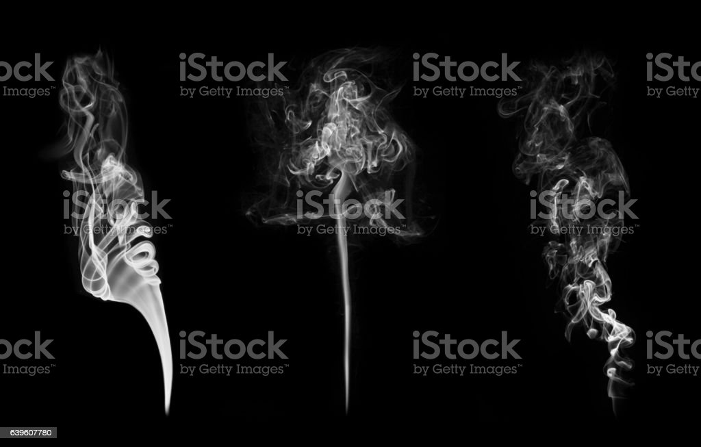 Collection of smoke patterns isolated on black stock photo