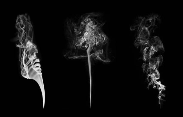 coleção de padrões de fumo isolado no preto - exhaust white background imagens e fotografias de stock