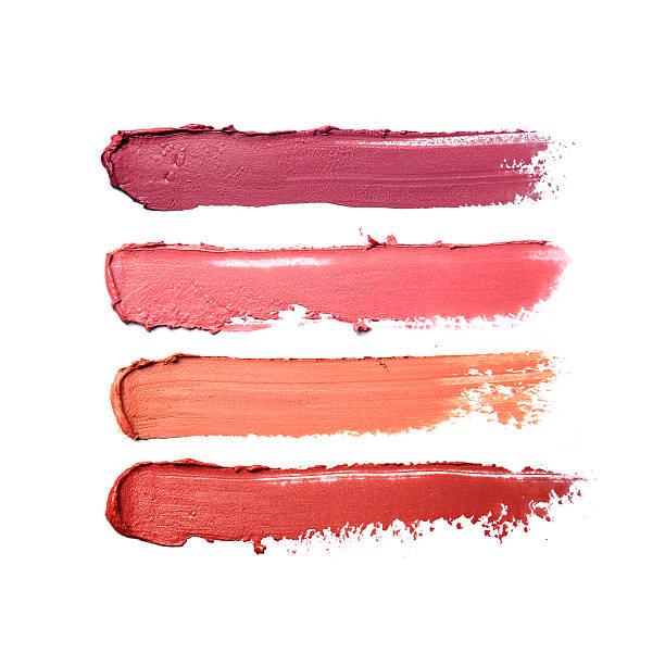 collection of smudged lipsticks - bevlekt stockfoto's en -beelden