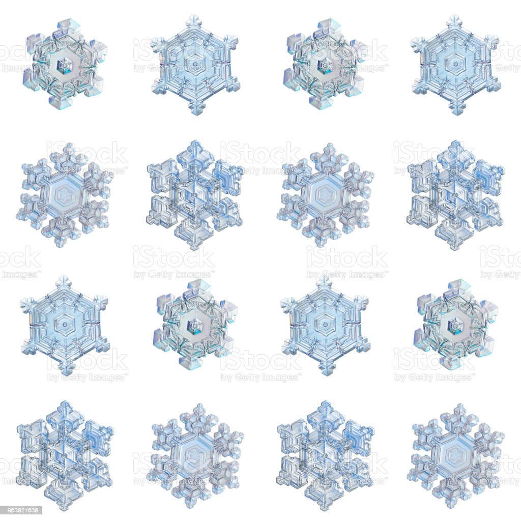 Collection of snowflakes isolated on white background stock photo