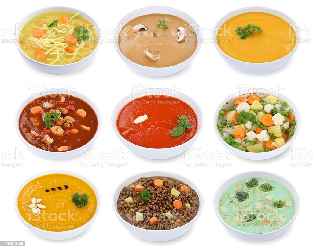 Collection of soups soup in bowl tomato vegetable noodle isolated stock photo