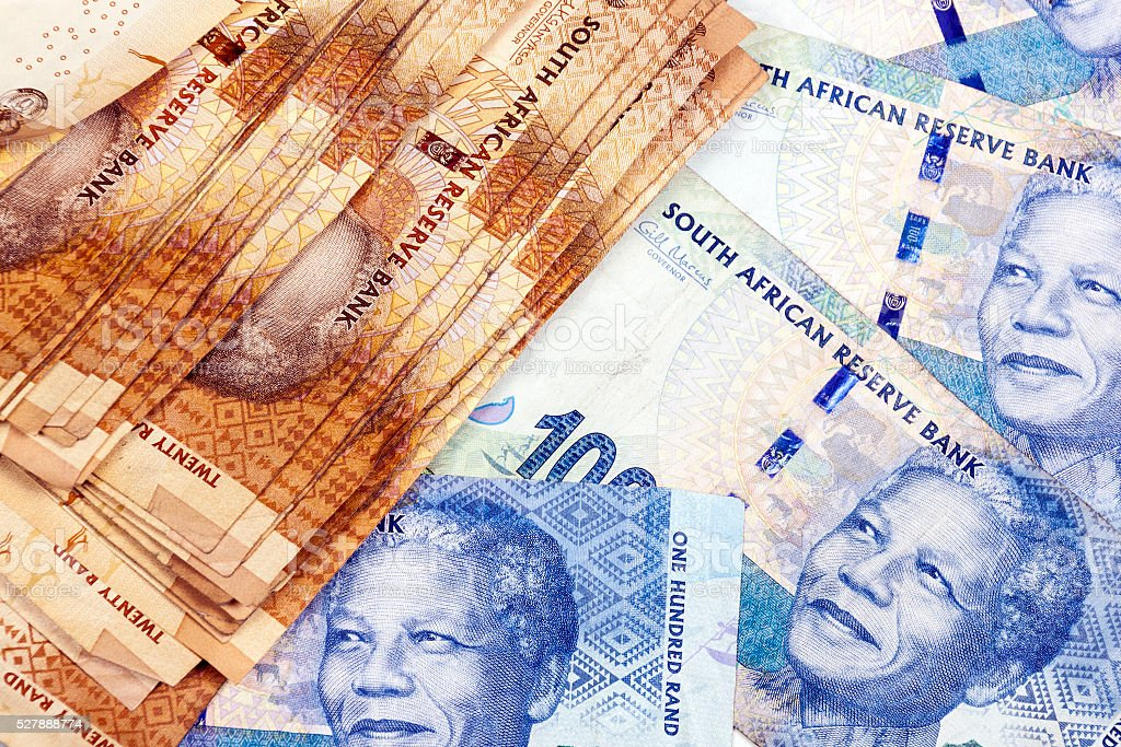 Collection of South African Twenty and  Fifty  Rand   Notes stock photo