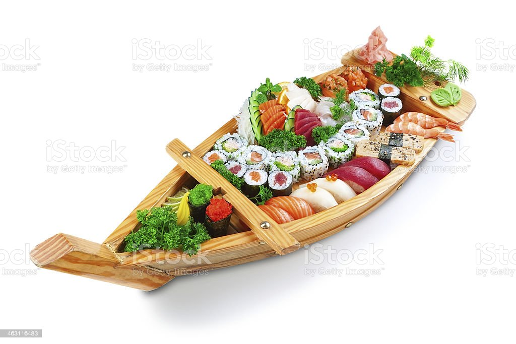 Collection of species sushi on the decorative plate ship. stock photo