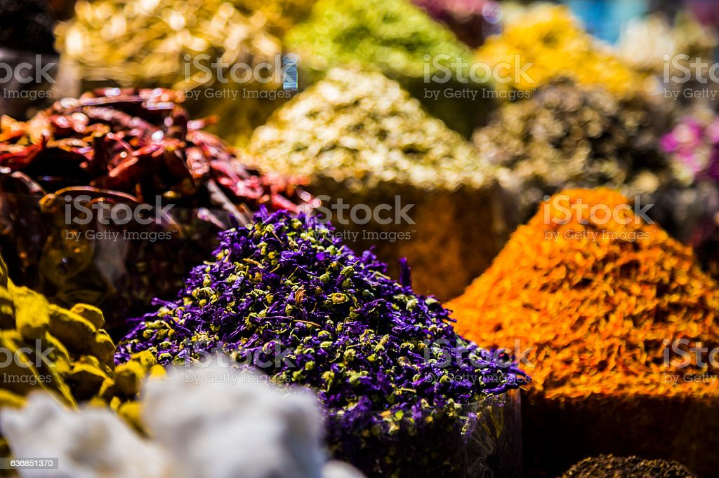 Collection of Spices displayed at Dubai Spice Market stock photo