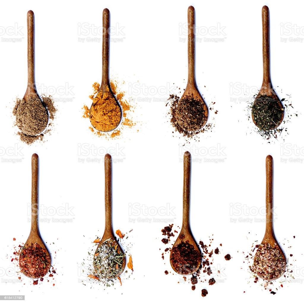Collection of Spices in Wooden Spoons foto de stock libre de derechos
