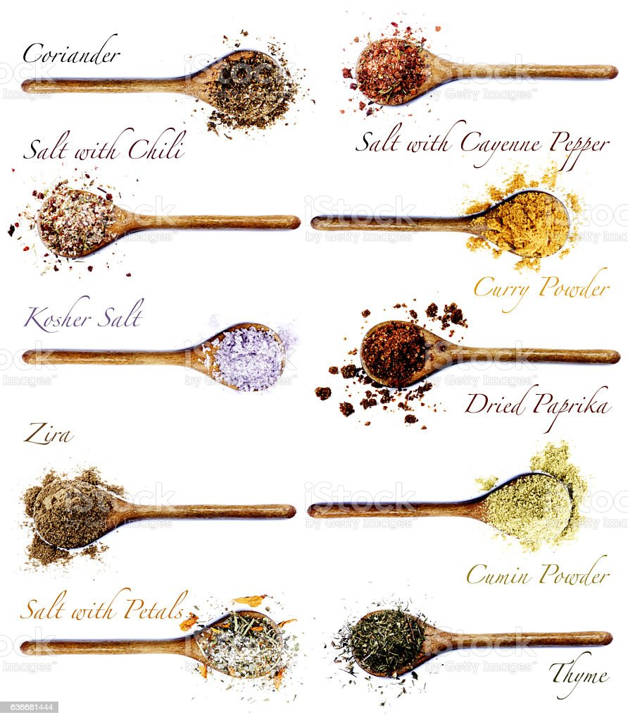 Collection of Spices with Inscription stock photo