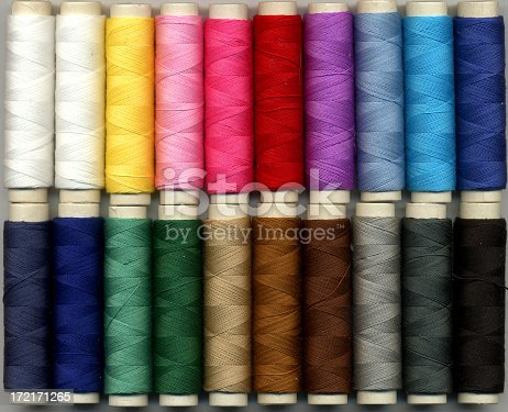 Colorful box of spooled cotton thread