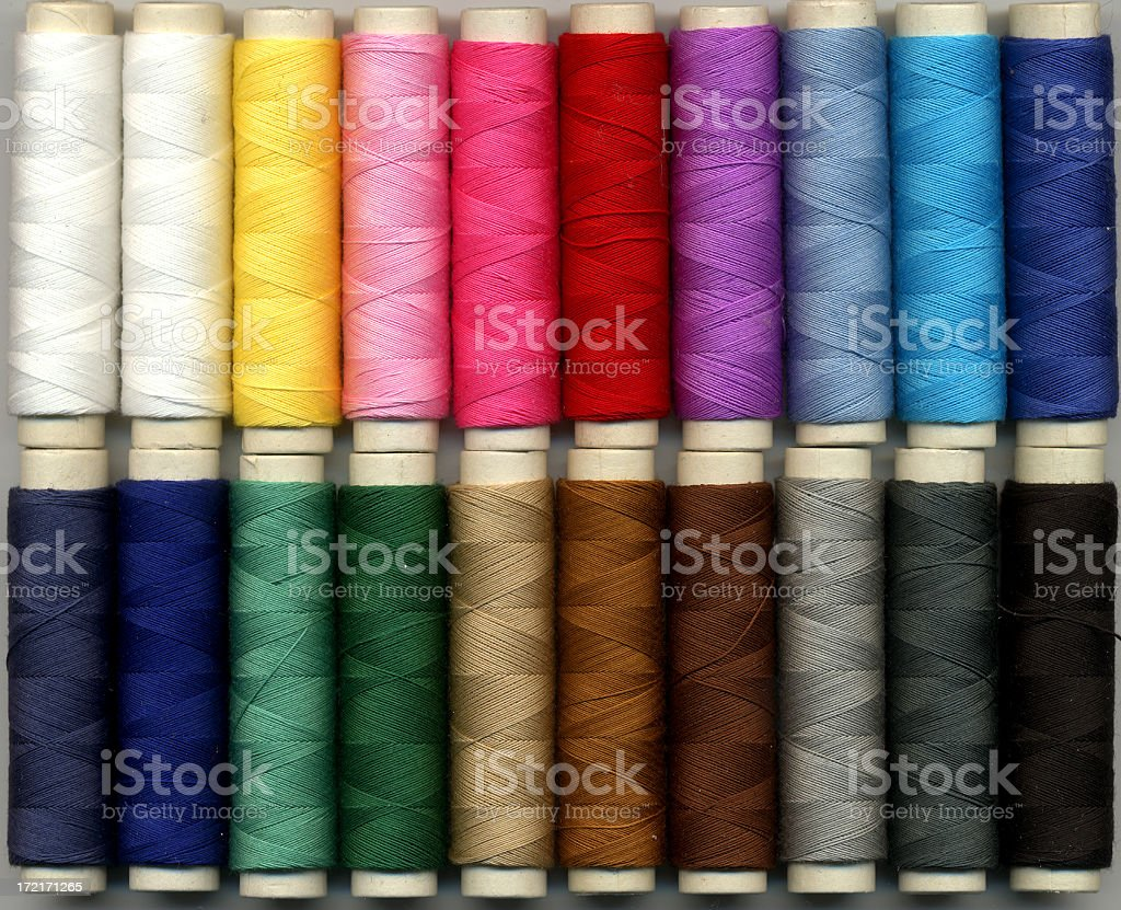 Collection of spools in a wide range of colors stock photo