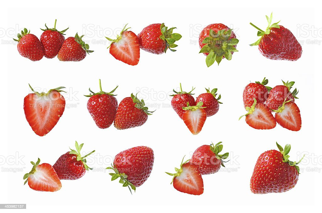 Collection of strawberry fruits isolated​​​ foto