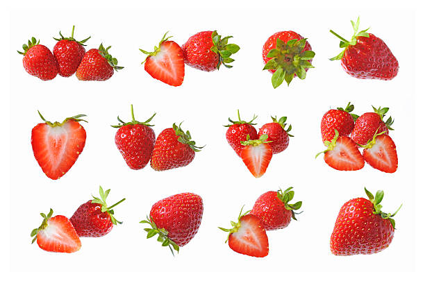Collection of strawberry fruits isolated foto