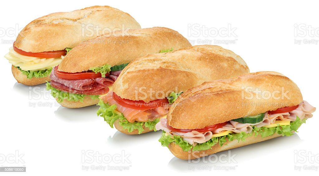 Collection of sub sandwiches baguettes with salami, salmon, ham stock photo