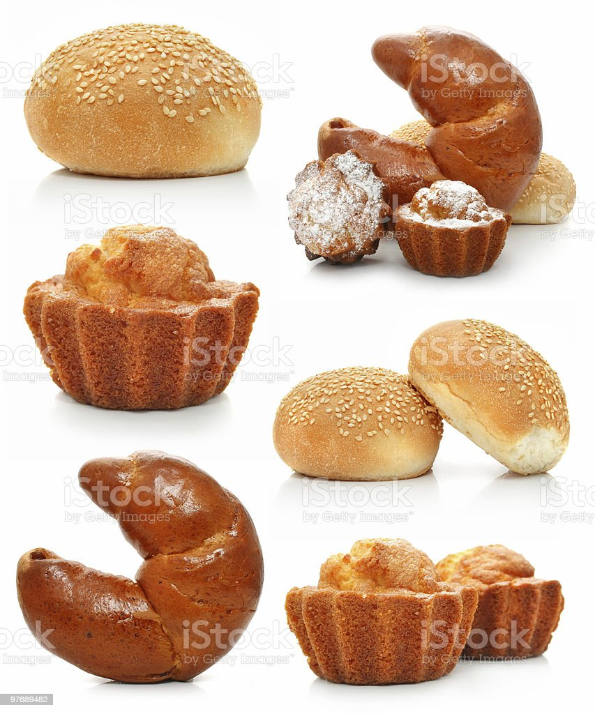 collection of sweet fancy cakes and croissant isolated royalty-free stock photo