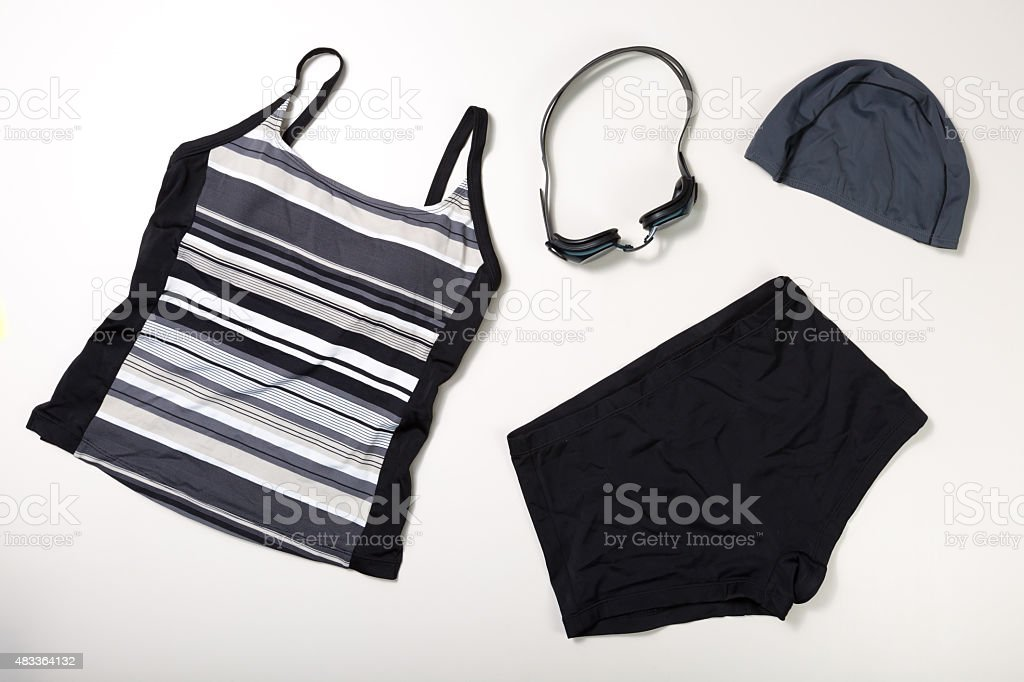 collection of Swimming suit, caps and glasses stok fotoğrafı