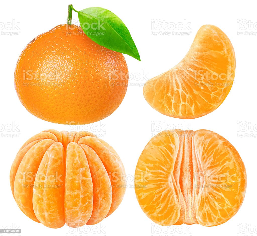Collection of tangerine pieces isolated on white with clipping path stock photo