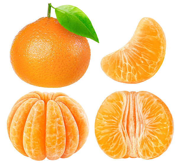 Collection of tangerine pieces isolated on white with clipping path See my other fruits: tangerine stock pictures, royalty-free photos & images