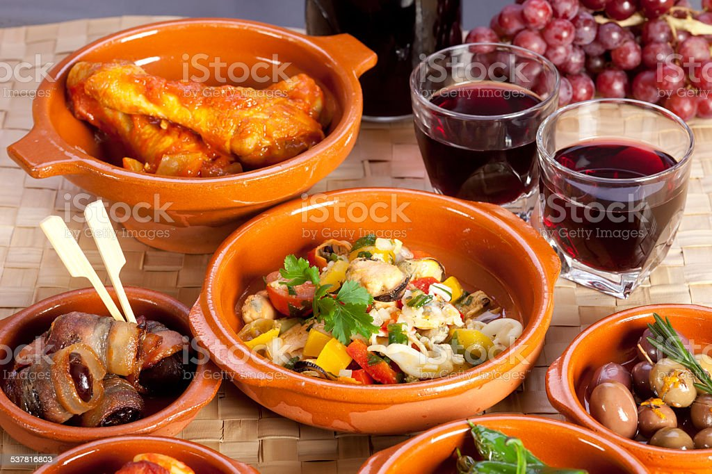 Collection of tapas foods. stock photo