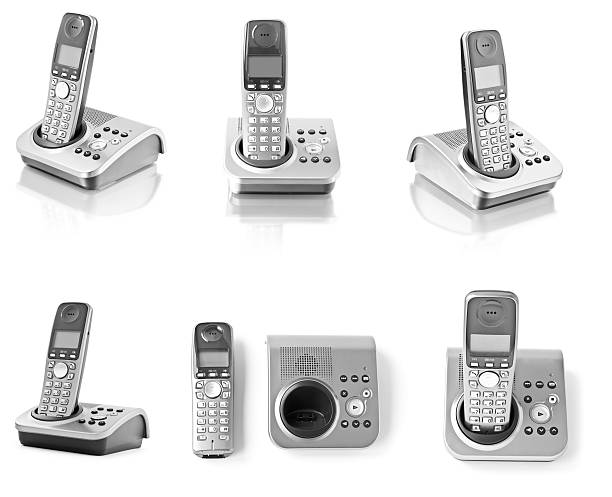 Collection of telephones isolated on white Collection of six office phones isolated on white cordless phone stock pictures, royalty-free photos & images