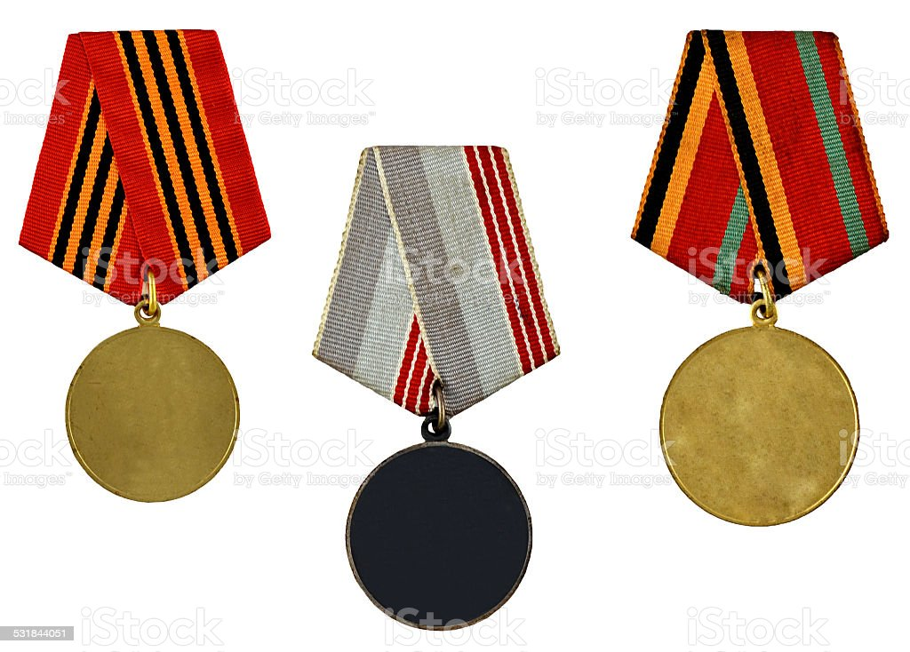 collection of templates of medals stock photo