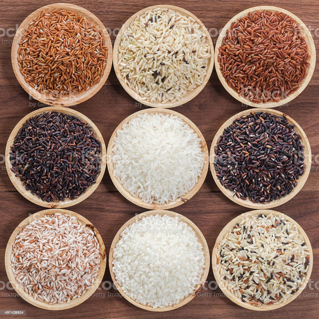 Collection of thai's premium rice for healthy life style stock photo