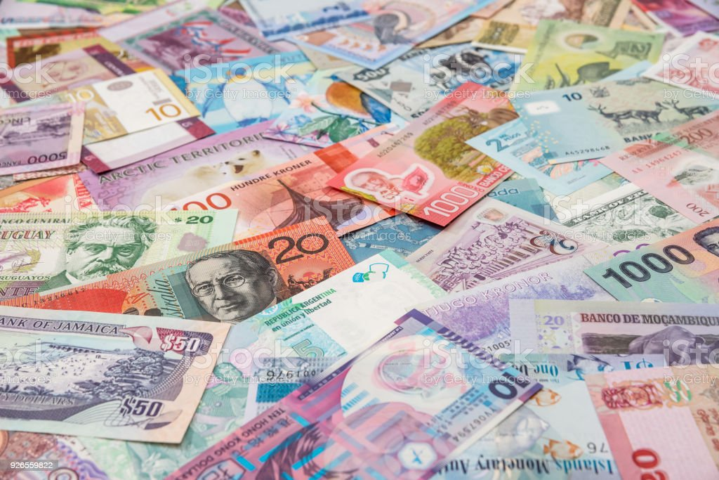 Collection of the variety  currency and banknotes from world stock photo