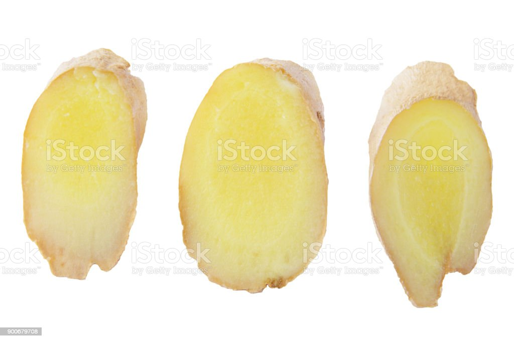 Collection of three slices ginger root isolated on white - foto stock