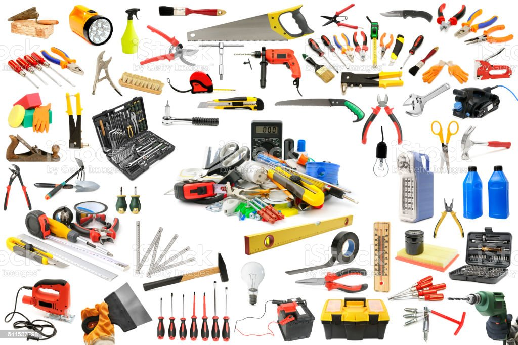Collection of tools necessary for the repair and maintenance of the house. stock photo