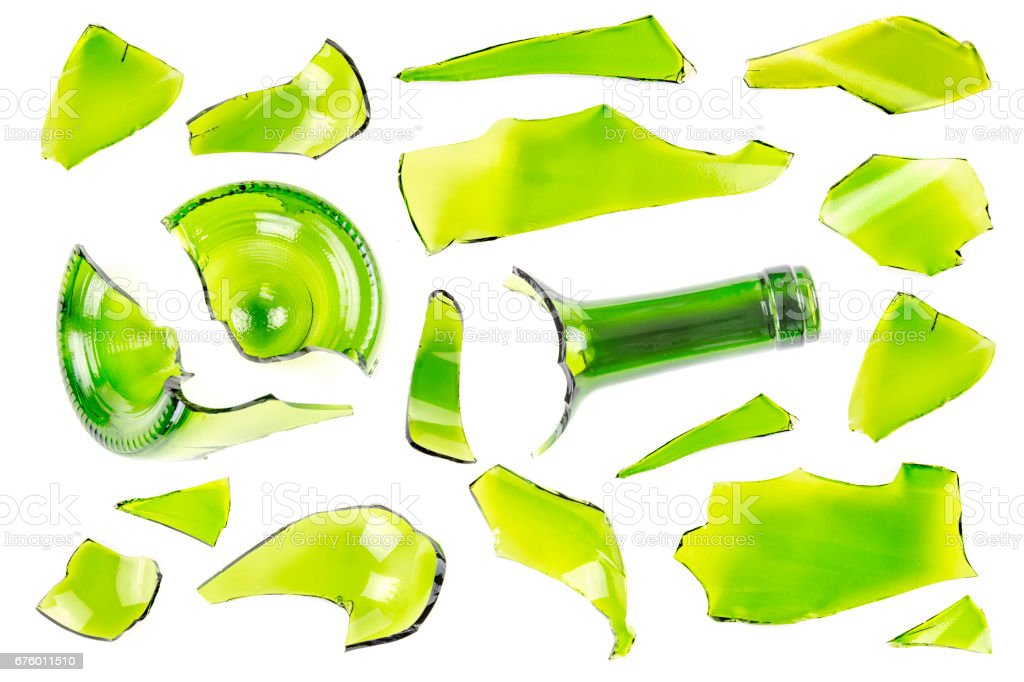 Collection of Top view of broken green wine bottle piece isolated stock photo