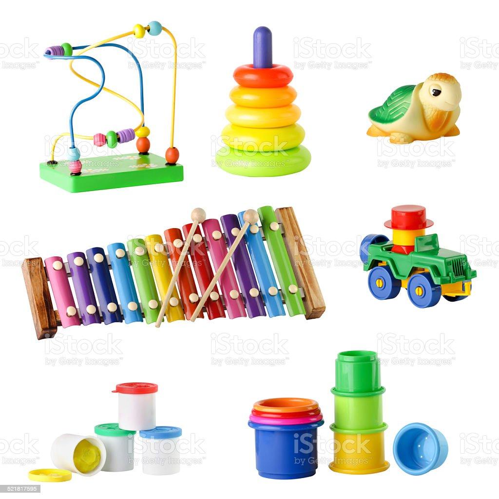 Сбор игрушек для детей младшего возраста, изолированные на белом фоне стоковое фото