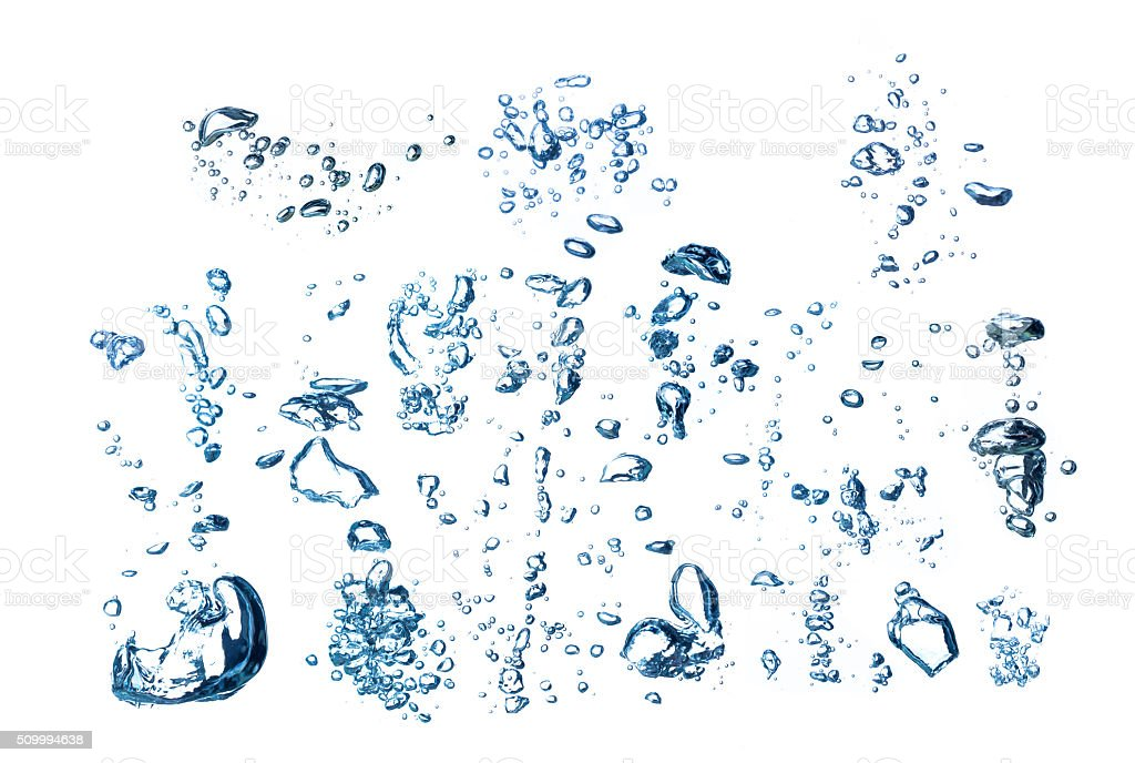 collection of underwater bubbles stock photo