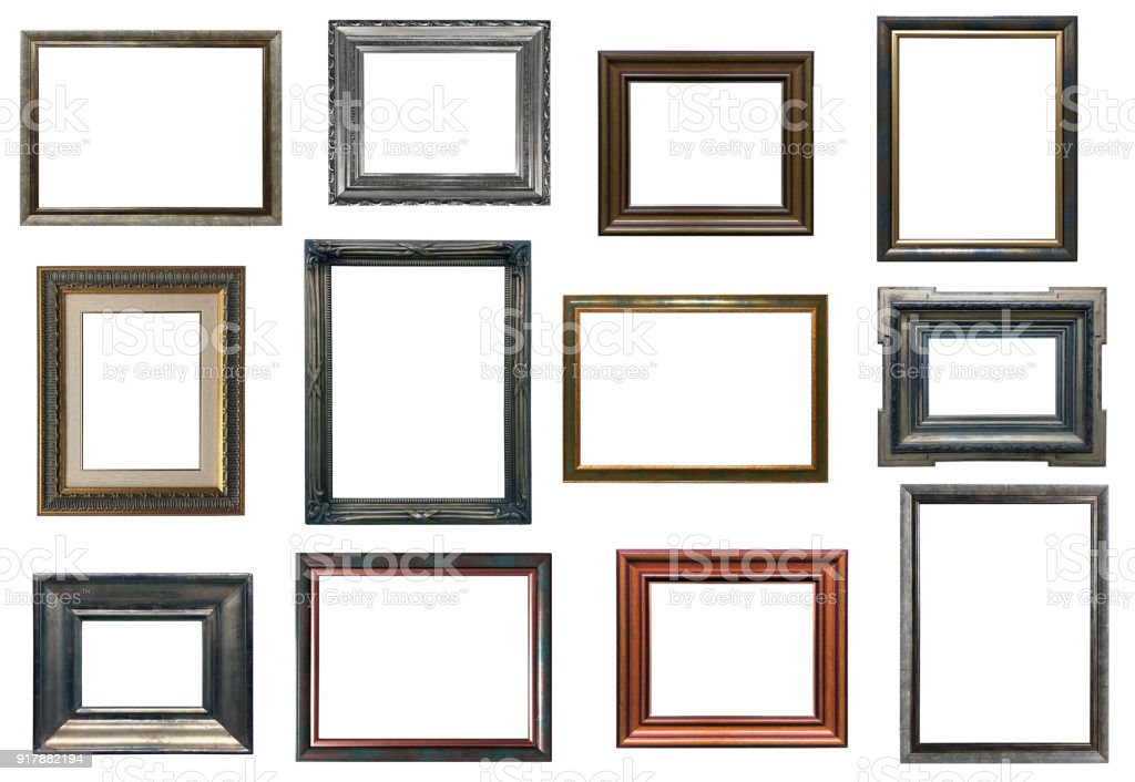 Collection of various antique frames on white background stock photo