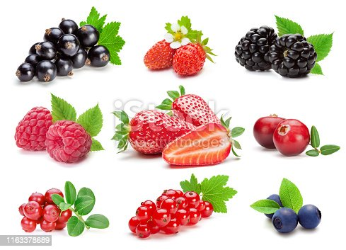 istock Collection of various berries on the white background. 1163378689