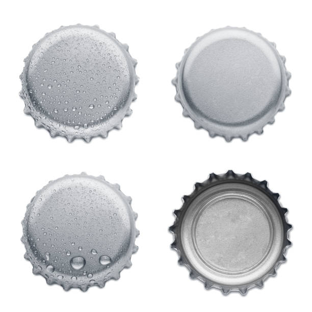 collection of various bottle caps isolated on white background stock photo